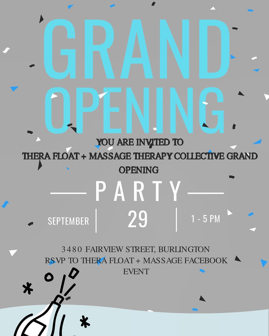 Float Therapy - Grand Opening Invite - Thera Float & Masasage Therapy Burlington Ontairo