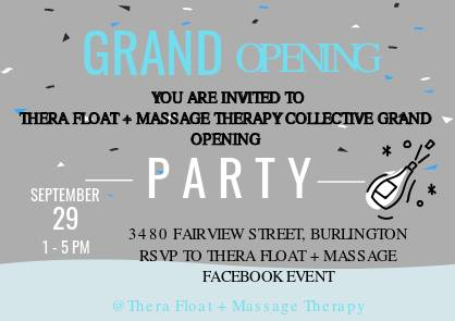 Thera Float & Massage Therapy Burlinginton Grand Opening